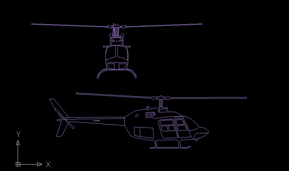 Helicopter Aircraft Side And Front View Elevation 2D DWG Block For AutoCAD