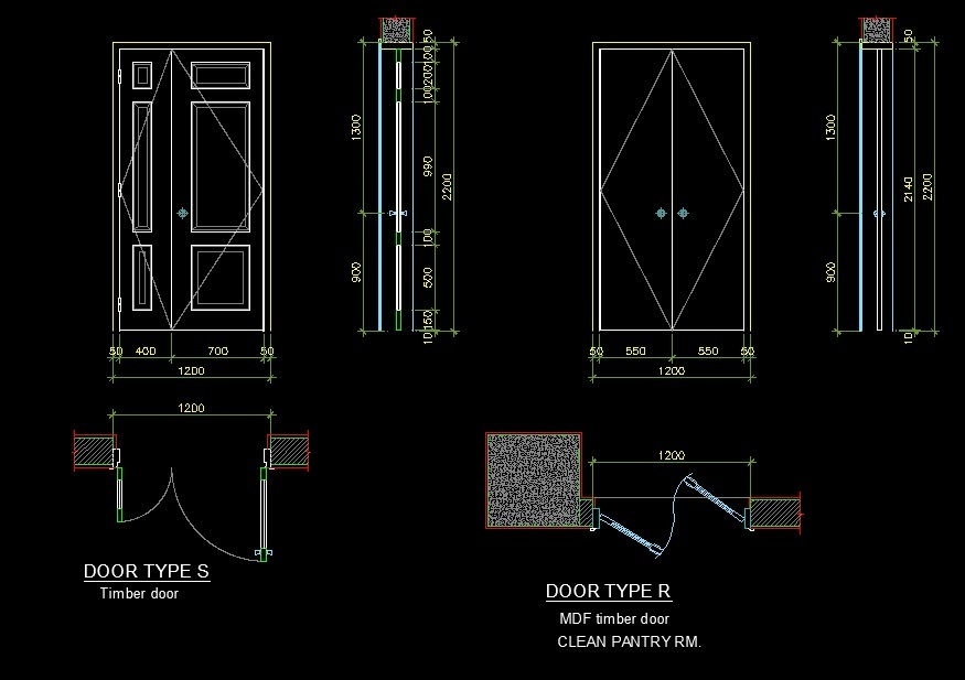 Timber And Mdf Wooden Door Side And Front Views And Plan