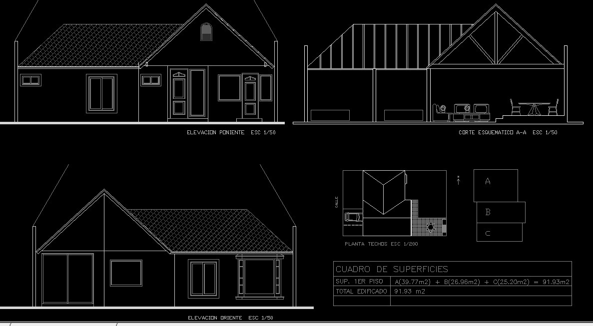 Single Storey House 2d Dwg Full Project For Autocad