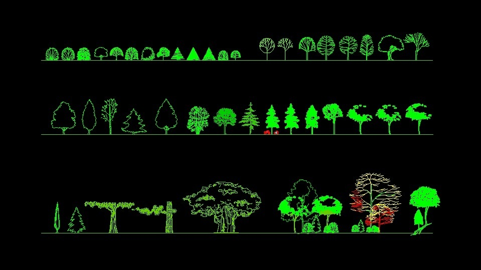 Various Types Of Trees Plants Front View Elevation 2d Dwg