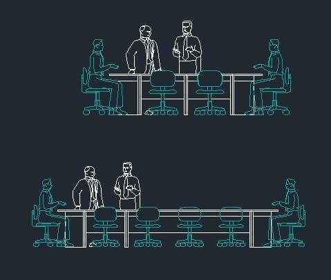 Pepole In Meeting Room At Work 2d Dwg Block For Autocad