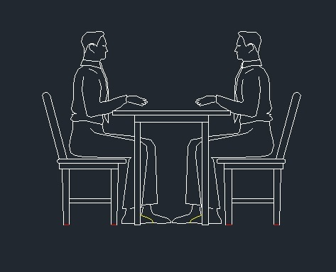 Pepole In A Resturant Sitting On Chairs With Table 2d Dwg