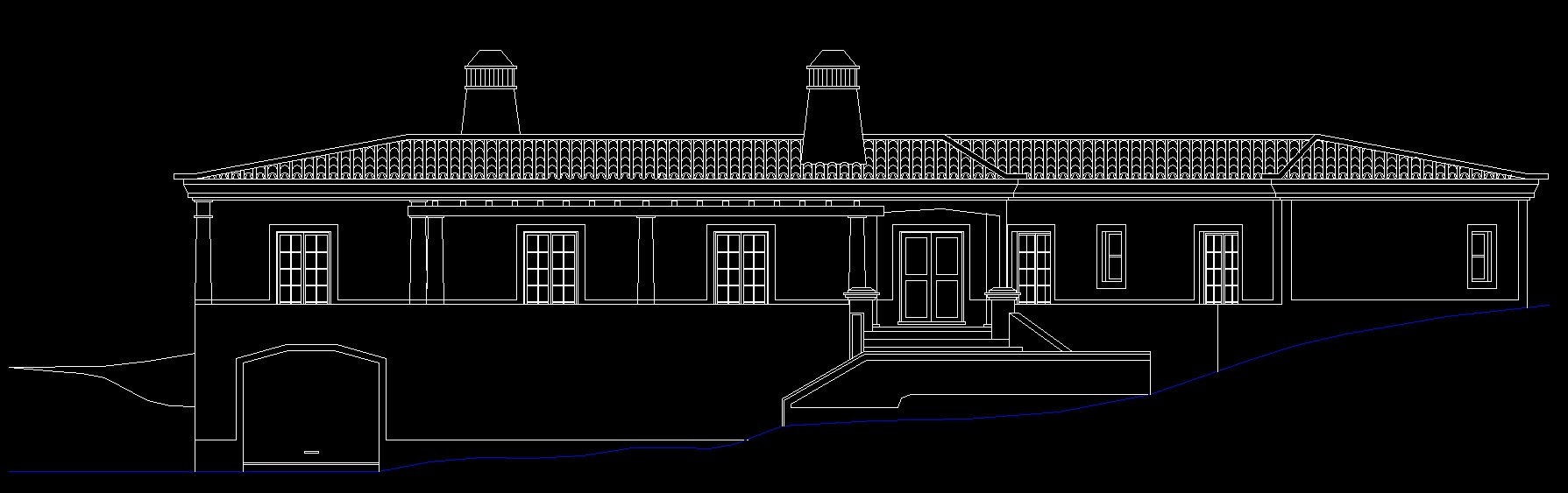 Ground Floor Elevation Zip : Country house with pitched roof d dwg plan for autocad