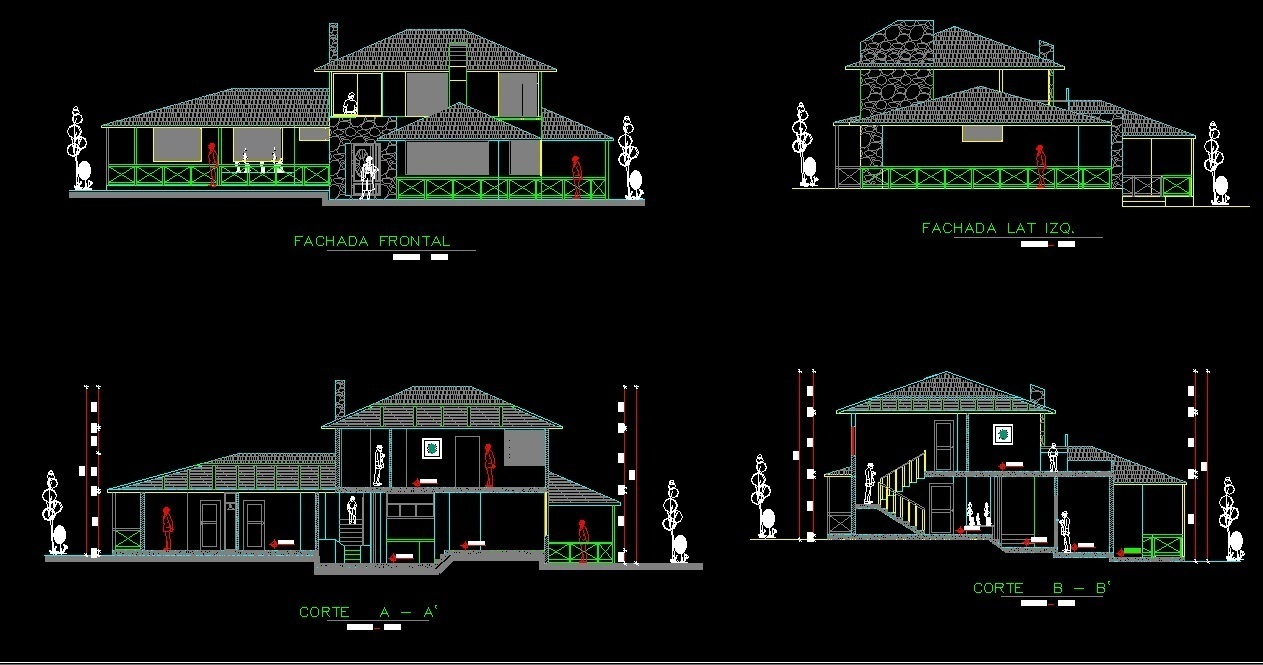 Front Elevation Autocad 2d : Storeys house with garden d dwg full project for