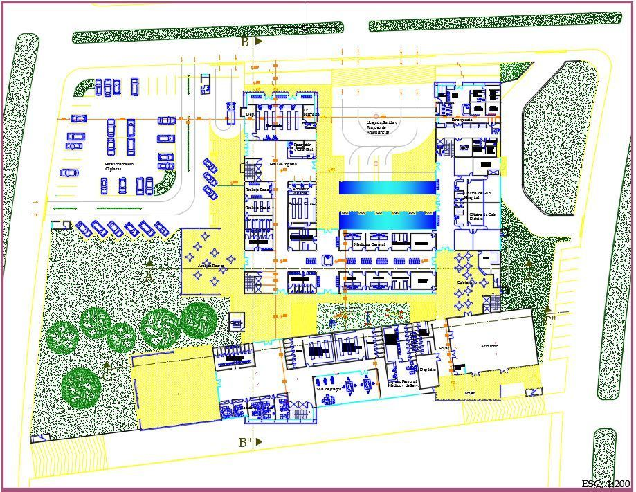 General hospital 2d 3d dwg full project for autocad for Site plan drawing online