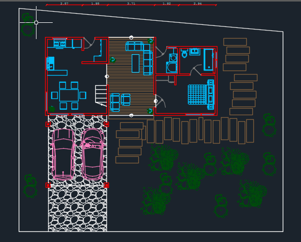 Floor Front Elevation View : Bungalow d dwg design section for autocad designs cad