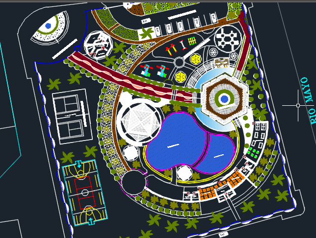 Tourist Resort With Simming Pools 2d Dwg Design Block For