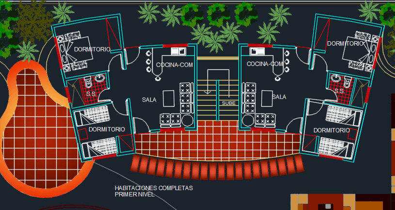 Recreational Center 2D DWG Design Block for AutoCAD