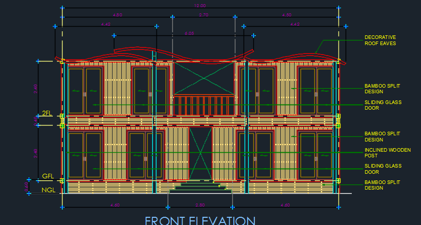 Family House 2d Dwg Design Elevation For Autocad Designs Cad