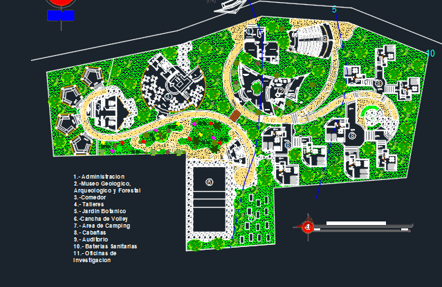 Ecological Tourist Center 2d Dwg Design Plan For Autocad