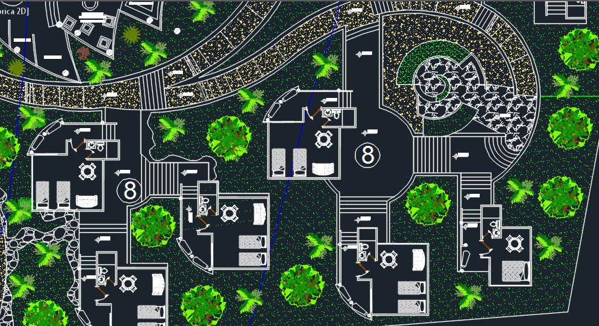 Ecological Tourist Center 2d Dwg Design Plan For Autocad