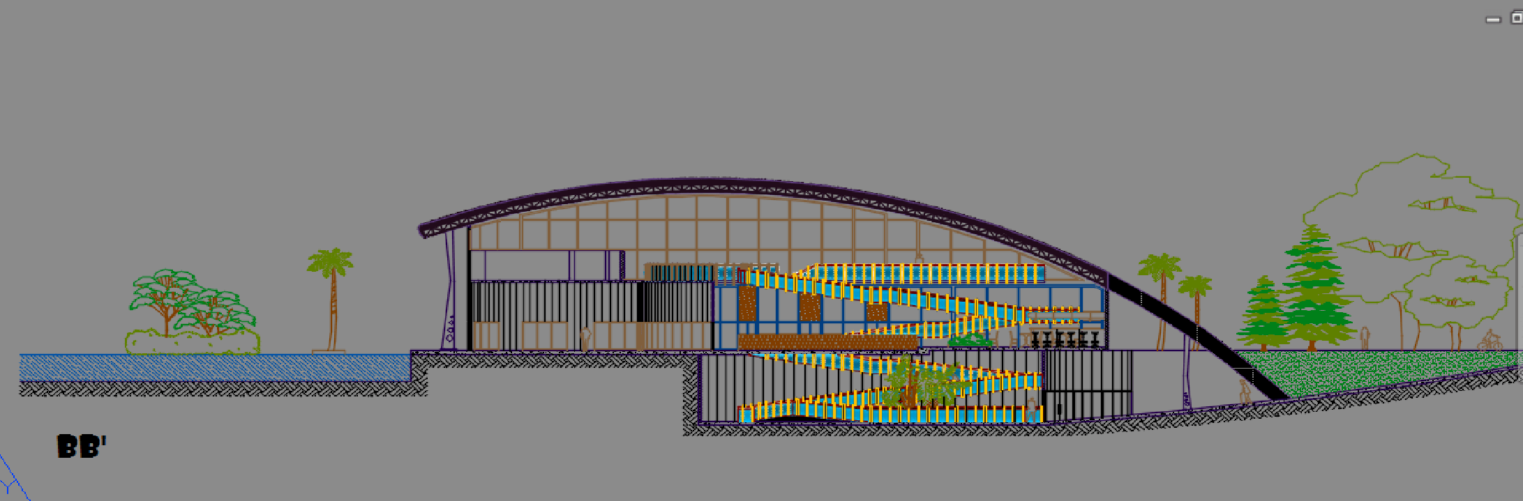 Convention Center With Curved Roofs 2D DWG Design