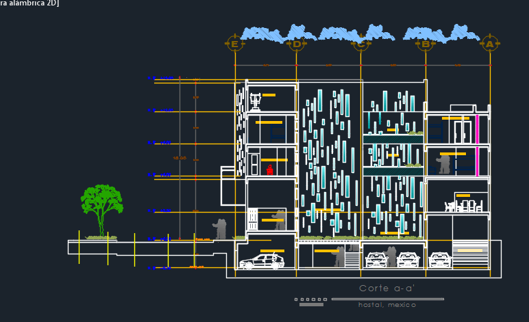 Elevation Floor Plan Autocad : Hostel elevation d dwg design plan for autocad designscad