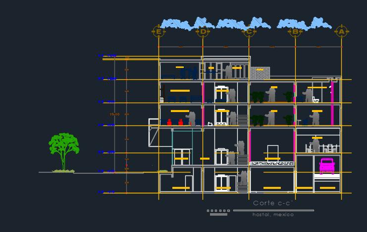Elevation Plan Cad : Hostel elevation d dwg design plan for autocad designscad