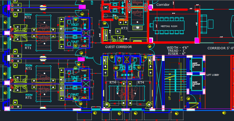 Hotel with 6 storeys 2d dwg design plan for autocad for Office design dwg
