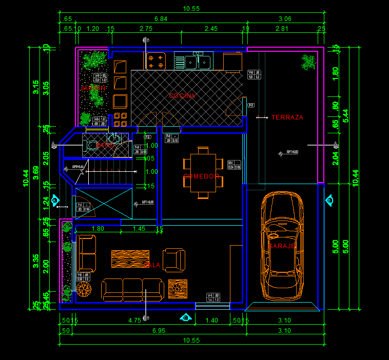 House 2d Dwg Plan For Autocad Designs Cad
