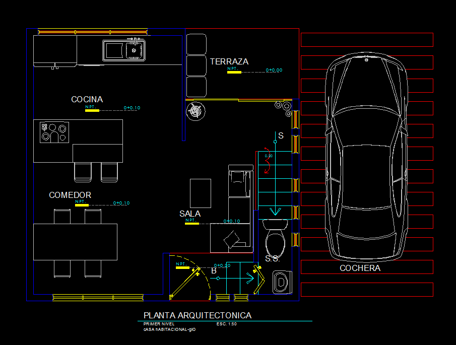 Small apartment with garage 2d dwg plan for autocad for Apartment plans dwg format