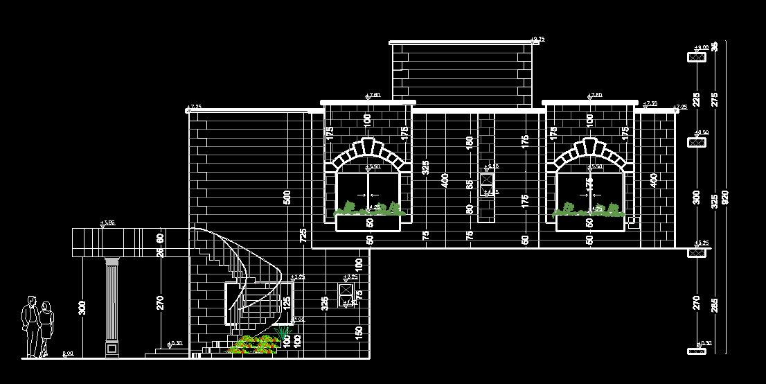 Front Elevation Autocad 2d : Old fashion house d dwg plan for autocad designs cad