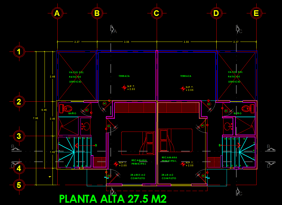 Duplex Two Story House 2d Dwg Full Project For Autocad