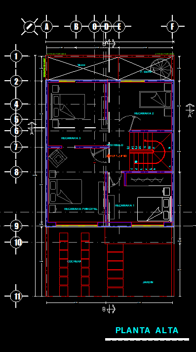 Three Story House With Garden 2d Dwg Full Plan For Autocad