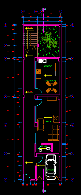 Three Story House With Garage 2d Dwg Full Plan For Autocad