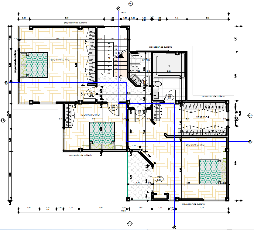 Modern family house 2d dwg plan for autocad designscad for Blueprint house plans