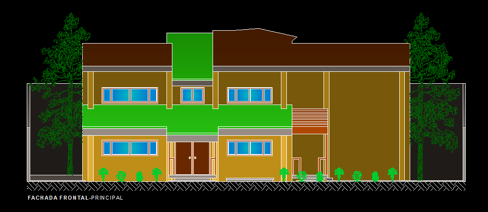 Front Elevation Of Residential Building In Autocad : Small contemporary house with garage d dwg plan for