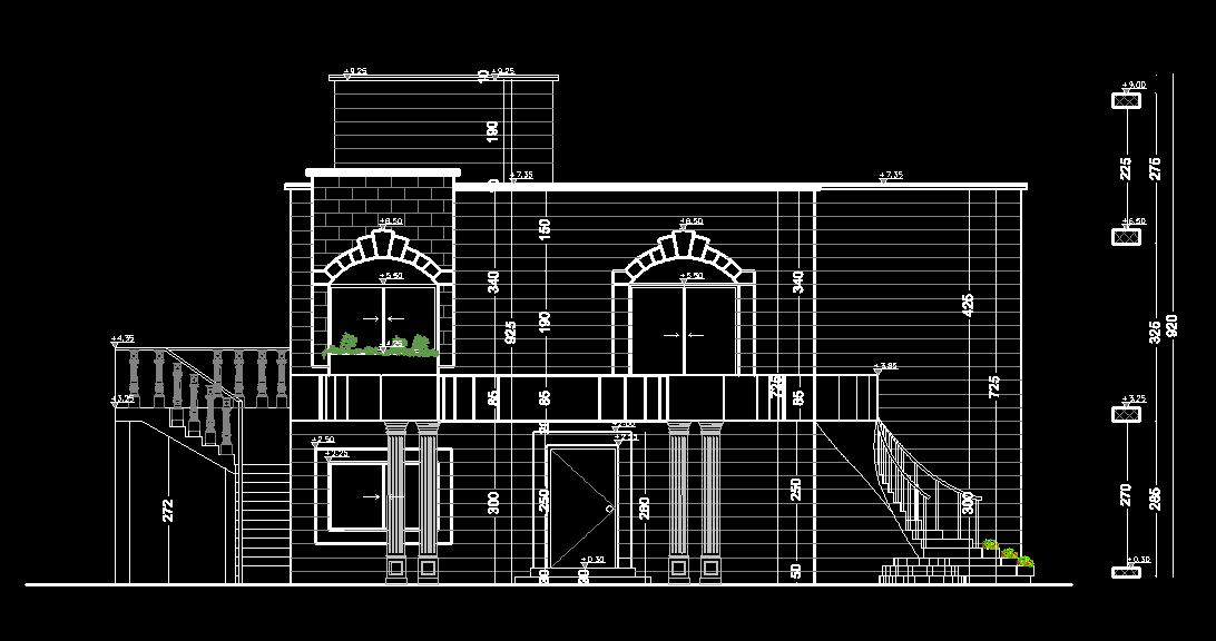 Elevation Plan In Autocad : Old fashion house d dwg plan for autocad designs cad