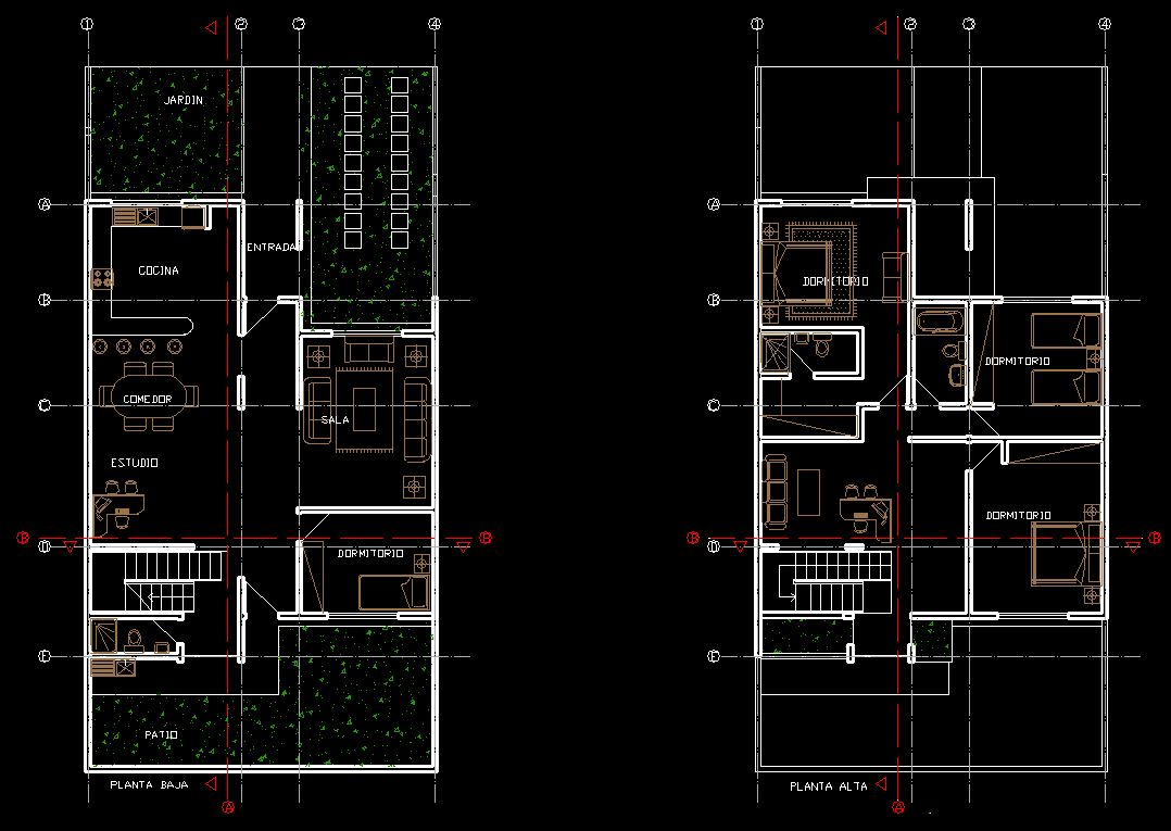 Townhouse 2d Dwg Plan For Autocad Designs Cad