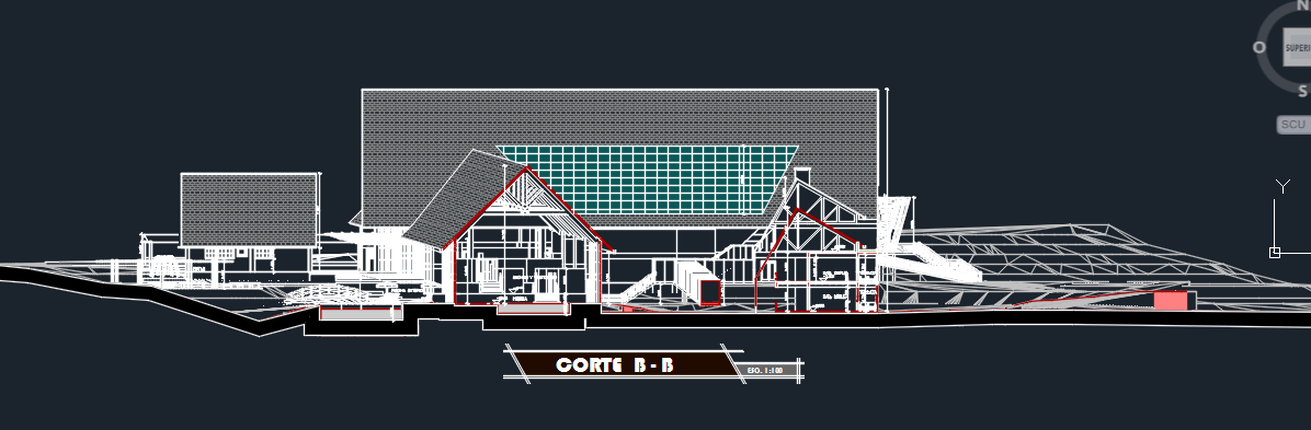 Tourist Complex Section 2d Dwg Design Plan For Autocad