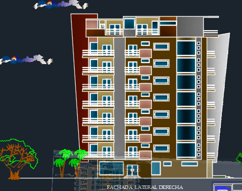 Apartment building 7 levels 2d dwg design plan for autocad for Apartment plans dwg format