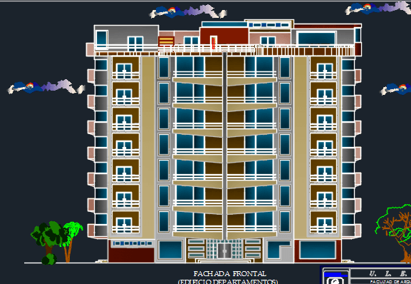 Apartment building 7 levels 2d dwg design plan for autocad for Apartment 2d plans