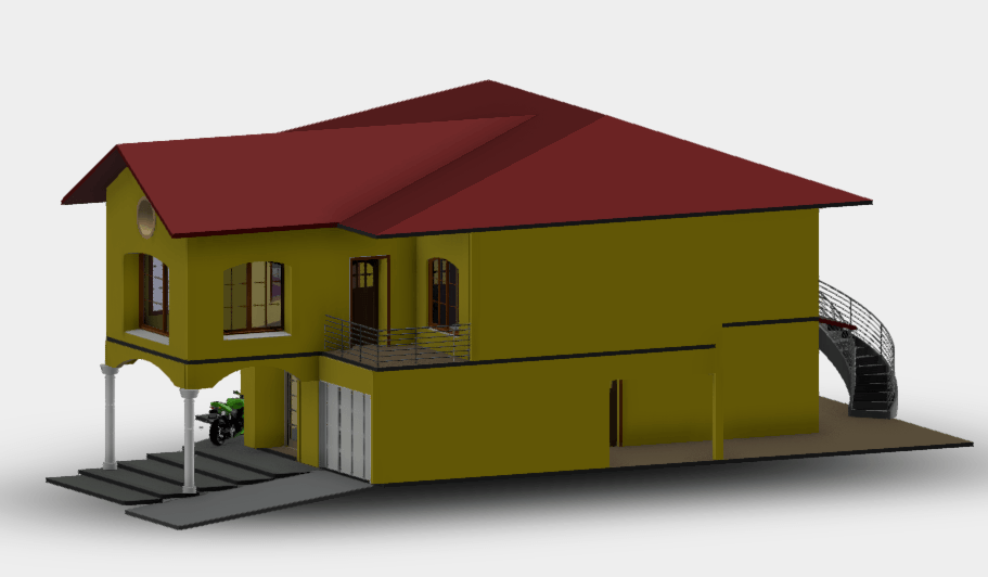 Modern House With Garage 3d Rvt Model For Revit Designs Cad