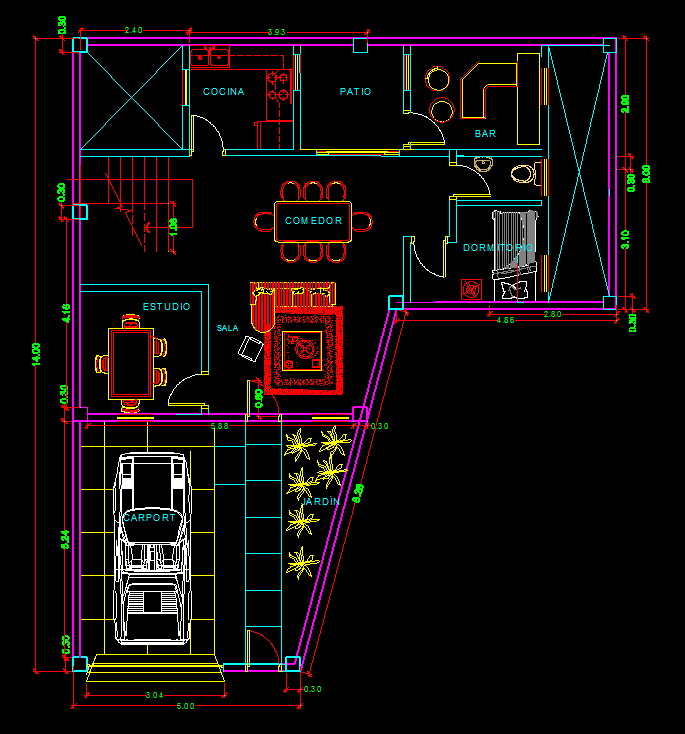 Futuristic House With 2 port Garage and Pool 2D DWG Plan for AutoCAD ...