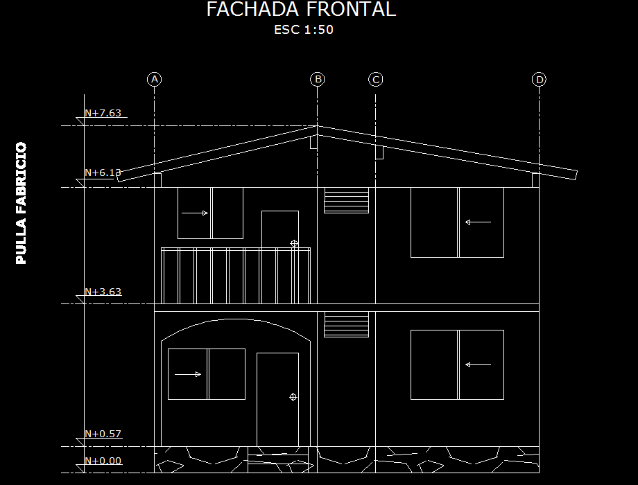 Front Elevation Autocad 2d : Two storey house d dwg plan for autocad designs cad