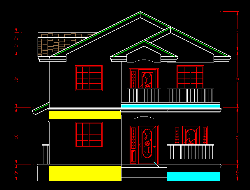 Front Elevation Residential Building Autocad : Luxerious building with two apartments d dwg plan for