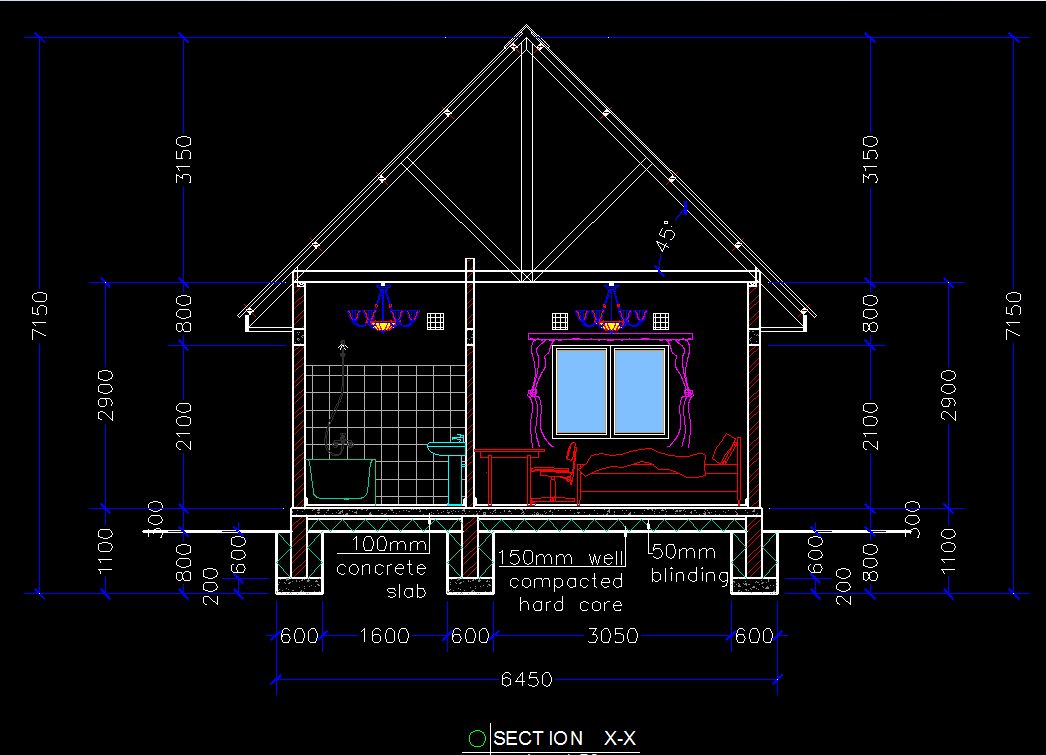 Wooden house chalet 2d dwg plan for autocad designs cad for Cad house