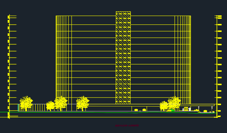 15 Levels Hotel With Elliptical Structure 2d Dwg Design