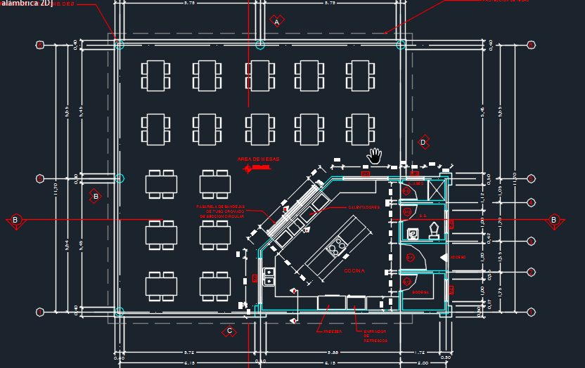 Cafeteria with floor plans 2d dwg design plan for autocad 2d design free download