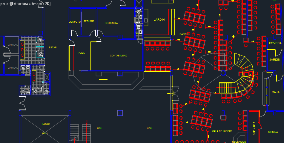 casino with pool and restaurant 2d dwg design plan for electrical layout of a house
