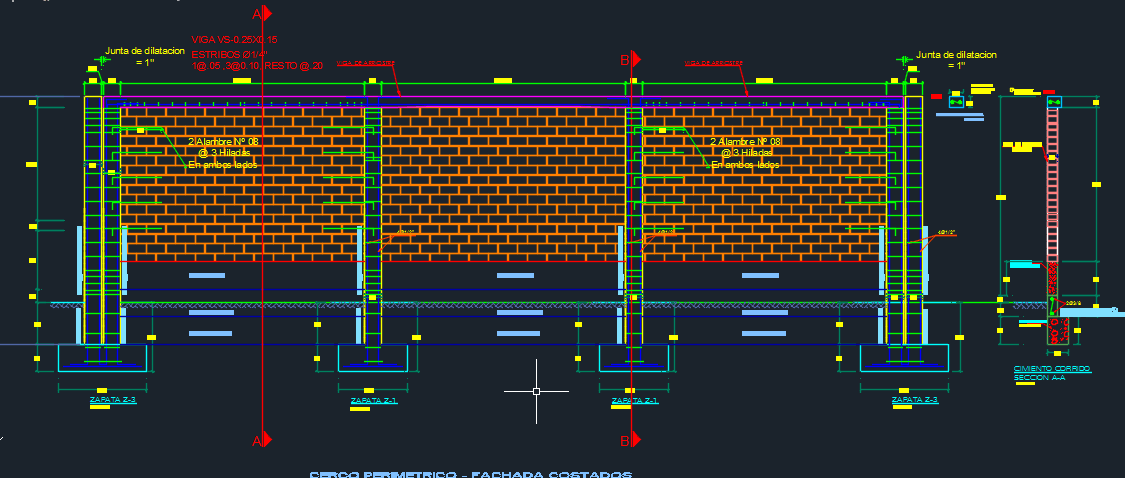 Fence Perimetric With Foundations 2d Dwg Design Elevation