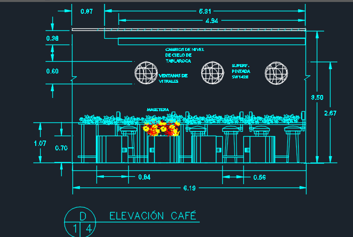 Italian Restaurant With Floor Plans 2d Dwg Design Section