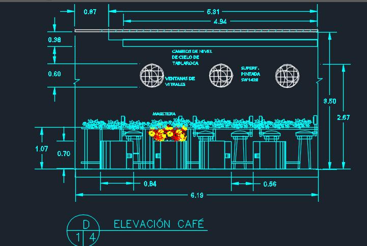 Italian Restaurant With Floor Plans 2D DWG Design Section for