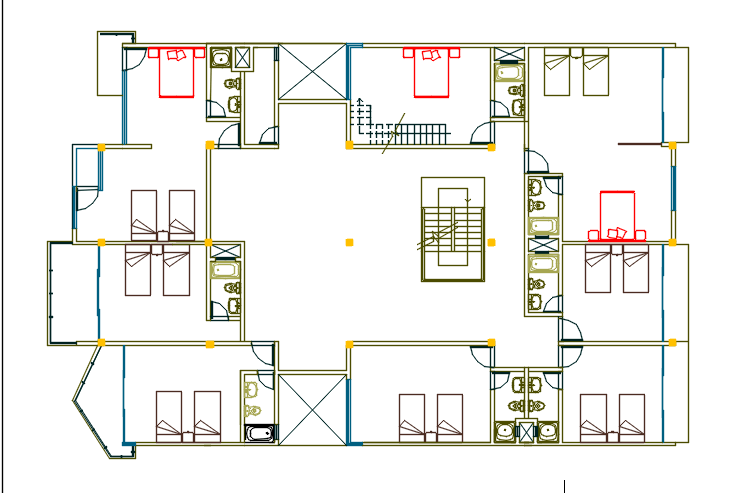 Six levels beach small hotel with garden 2d dwg design for Small hotel design plans