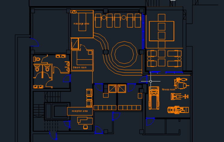 Spa center with pool and furniture 2d dwg design plan for for Hair salon floor plans download