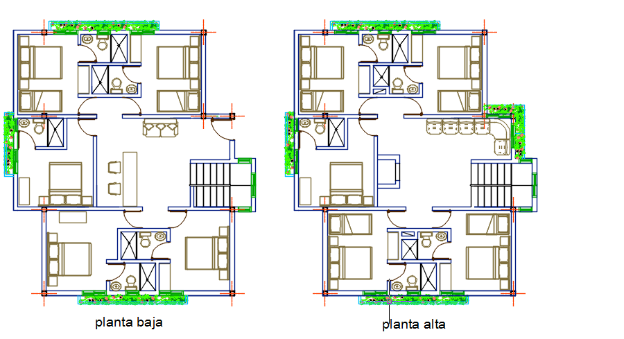 Three Floors Shelter Lodging 2d Dwg Design Section For