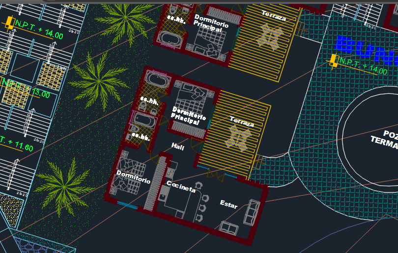 Tourist Spa With Thermal Pool And Parking 2d Dwg Design