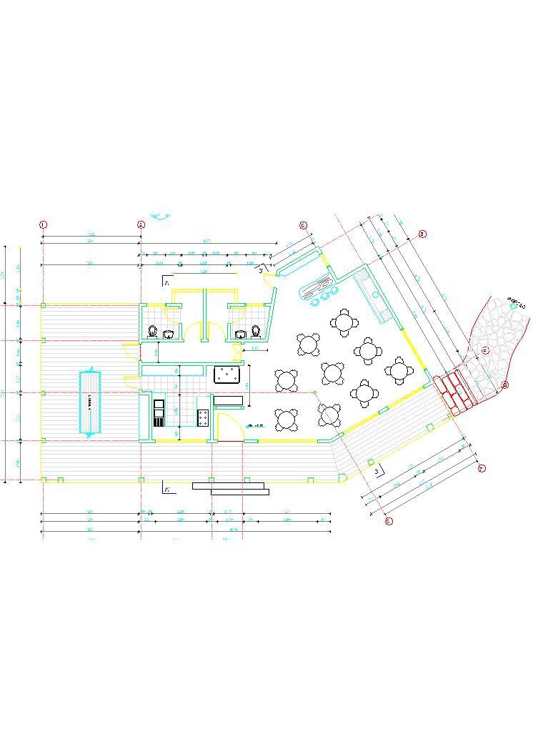 Country Restaurant Hotel 2d Dwg Plan For Autocad
