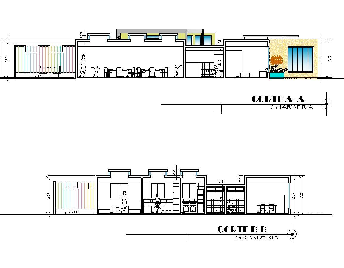 day care  nursery  early stimulation center 2d dwg plan