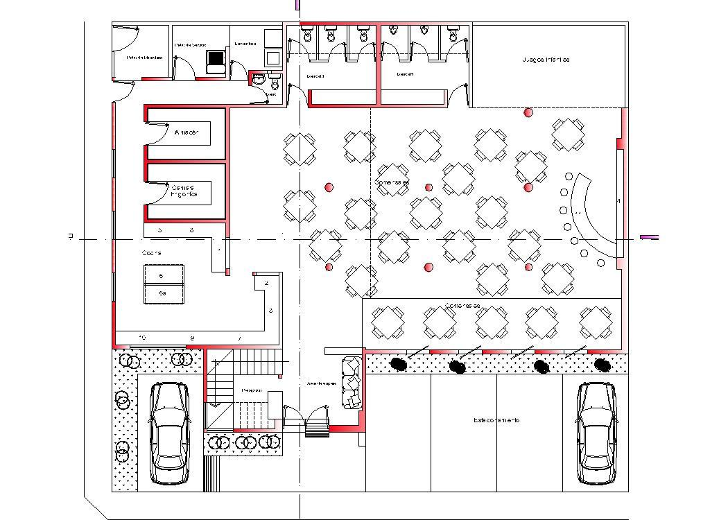 Restaurant hotel roof top d dwg plan for autocad
